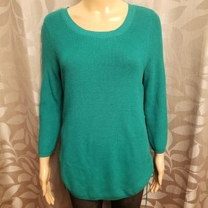 Green Ribbed Crew Neck Sweater
